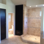 Shower with Travertine and Tile